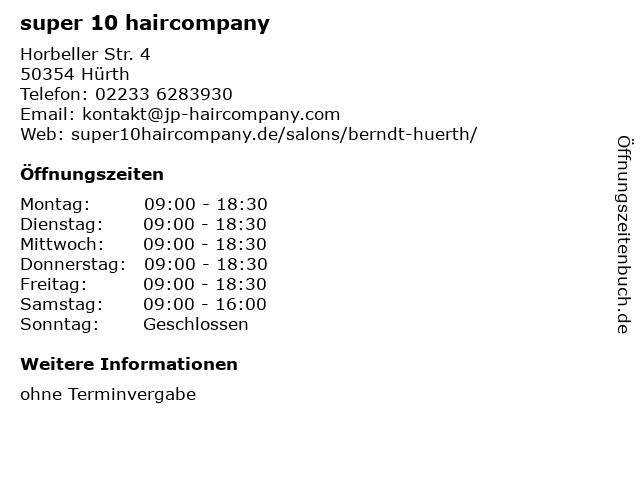 super 10 haircompany in Hürth: Adresse und Öffnungszeiten