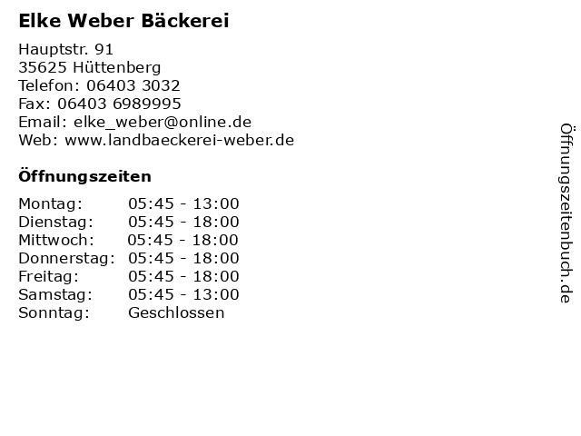 Elke Weber Bäckerei in Hüttenberg: Adresse und Öffnungszeiten