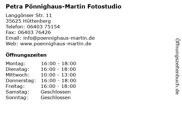 Petra Pönnighaus-Martin Fotostudio in Hüttenberg: Adresse und Öffnungszeiten