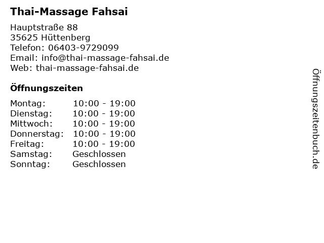 Thai-Massage Fahsai in Hüttenberg: Adresse und Öffnungszeiten