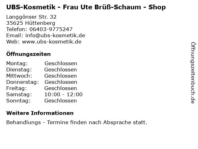 UBS-Kosmetik - Frau Ute Brüß-Schaum - Shop in Hüttenberg: Adresse und Öffnungszeiten