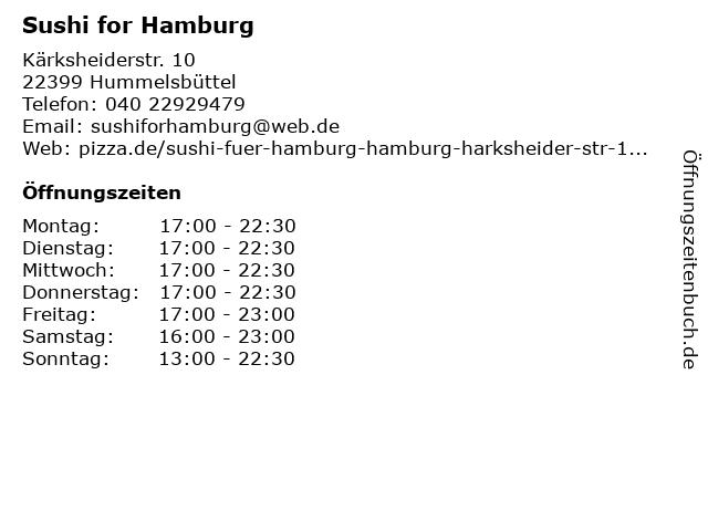 Sushi for Hamburg in Hummelsbüttel: Adresse und Öffnungszeiten