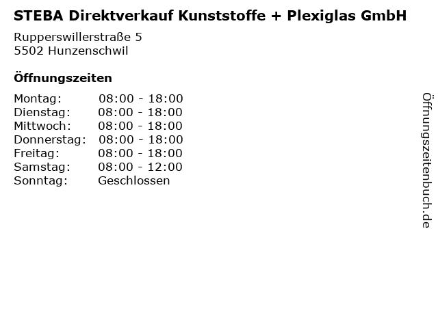 STEBA Direktverkauf Kunststoffe + Plexiglas GmbH in Hunzenschwil: Adresse und Öffnungszeiten
