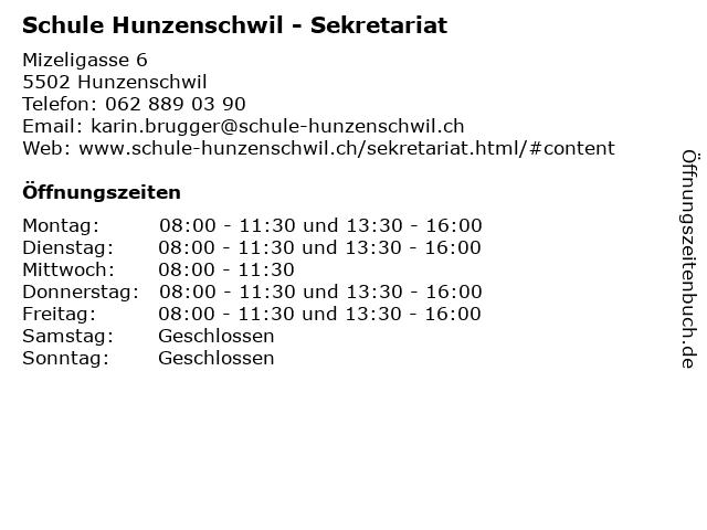 Schule Hunzenschwil - Sekretariat in Hunzenschwil: Adresse und Öffnungszeiten