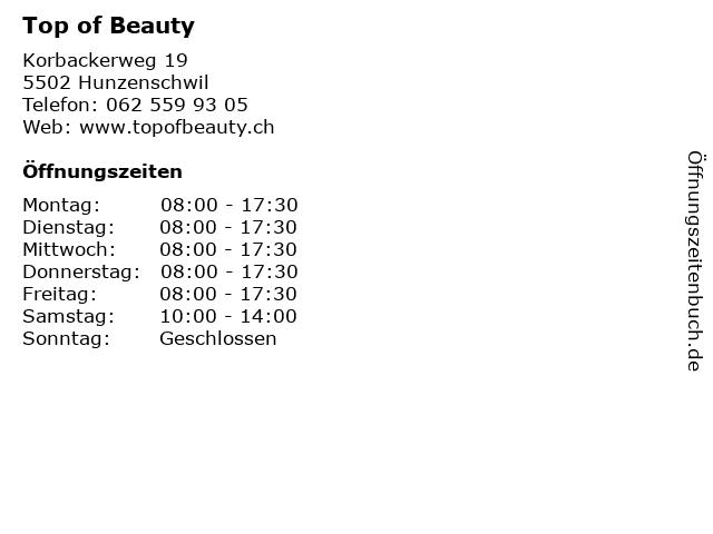 Top of Beauty in Hunzenschwil: Adresse und Öffnungszeiten