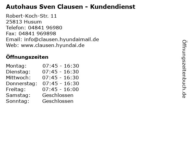Autohaus Sven Clausen - Kundendienst in Husum: Adresse und Öffnungszeiten