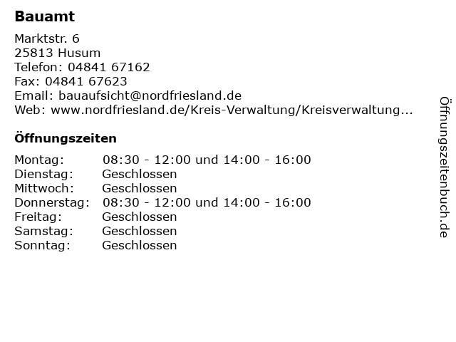 Bauamt in Husum: Adresse und Öffnungszeiten