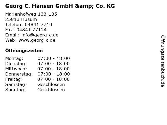 Georg C. Hansen GmbH & Co. KG - Verkauf Haustechnik - Stahl in Husum: Adresse und Öffnungszeiten