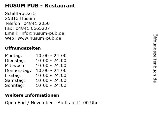 HUSUM PUB - Restaurant in Husum: Adresse und Öffnungszeiten