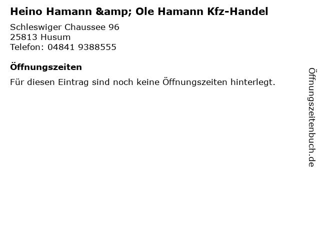 Heino Hamann & Ole Hamann Kfz-Handel in Husum: Adresse und Öffnungszeiten