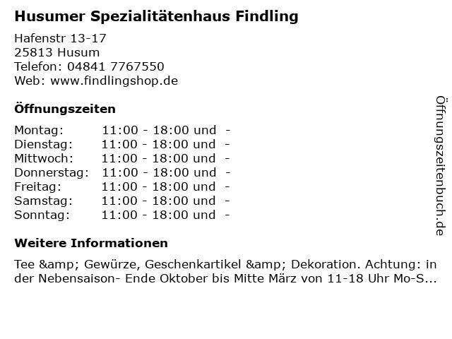 Husumer Spezialitätenhaus Findling in Husum: Adresse und Öffnungszeiten