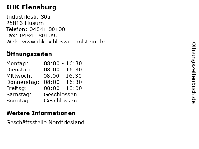 IHK Flensburg in Husum: Adresse und Öffnungszeiten