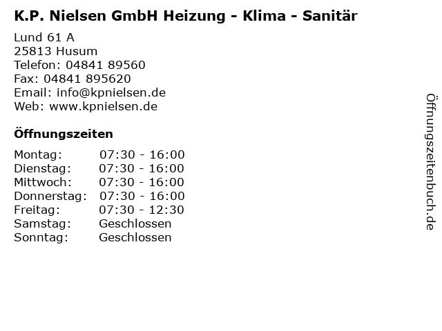 K.P. Nielsen GmbH Heizung - Klima - Sanitär in Husum: Adresse und Öffnungszeiten