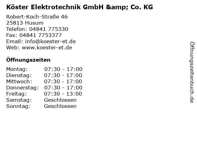 Köster Elektrotechnik GmbH & Co. KG in Husum: Adresse und Öffnungszeiten