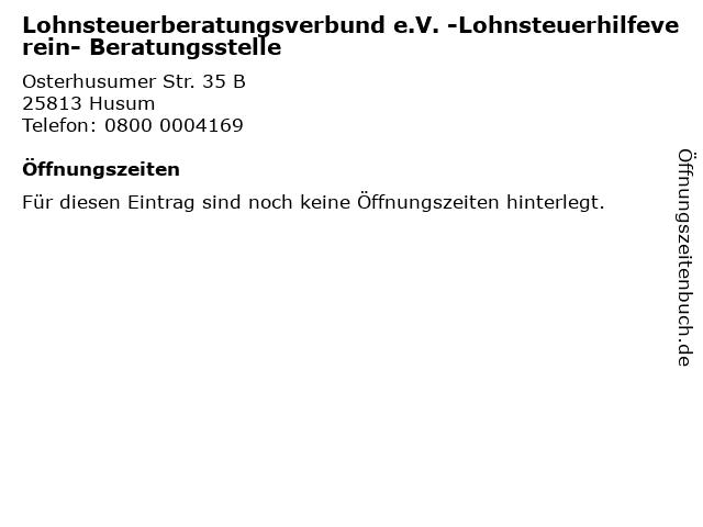 Lohnsteuerberatungsverbund e.V. -Lohnsteuerhilfeverein- Beratungsstelle in Husum: Adresse und Öffnungszeiten