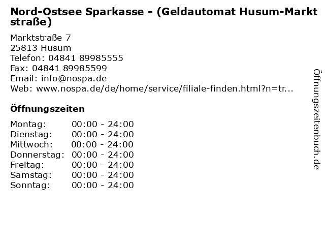 Nord-Ostsee Sparkasse - (Geldautomat Husum-Marktstraße) in Husum: Adresse und Öffnungszeiten