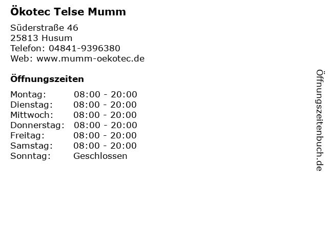 Ökotec Telse Mumm in Husum: Adresse und Öffnungszeiten