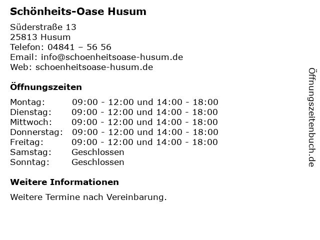 Schönheits-Oase Husum in Husum: Adresse und Öffnungszeiten