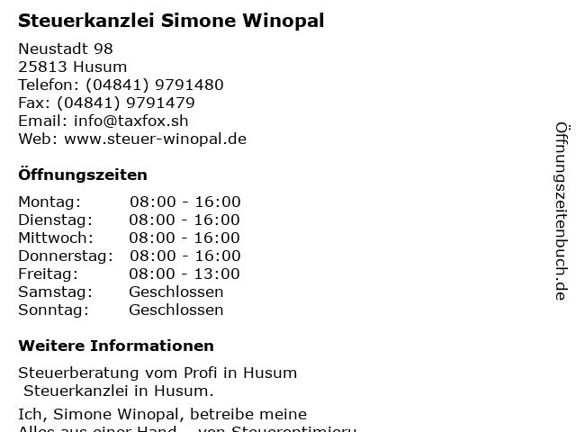 Steuerkanzlei Simone Winopal in Husum: Adresse und Öffnungszeiten