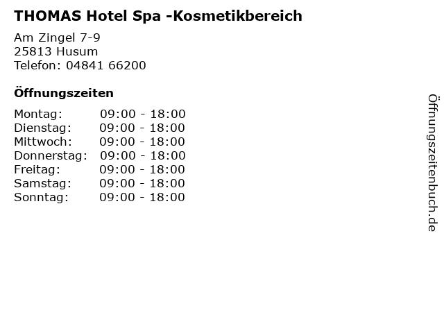 THOMAS Hotel Spa -Kosmetikbereich in Husum: Adresse und Öffnungszeiten
