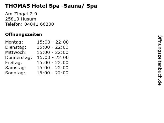 THOMAS Hotel Spa -Sauna/ Spa in Husum: Adresse und Öffnungszeiten