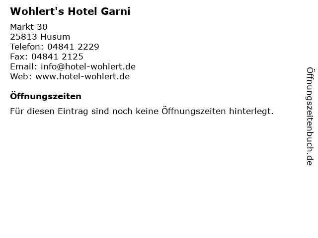 Wohlert's Hotel Garni in Husum: Adresse und Öffnungszeiten
