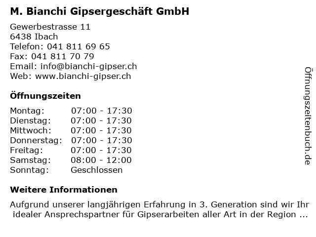 M. Bianchi Gipsergeschäft GmbH in Ibach: Adresse und Öffnungszeiten
