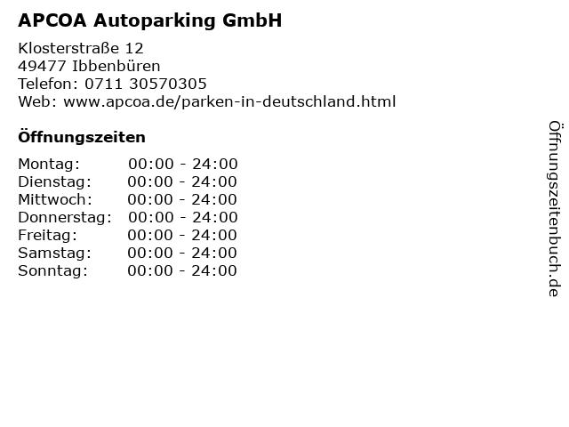 APCOA Autoparking GmbH in Ibbenbüren: Adresse und Öffnungszeiten