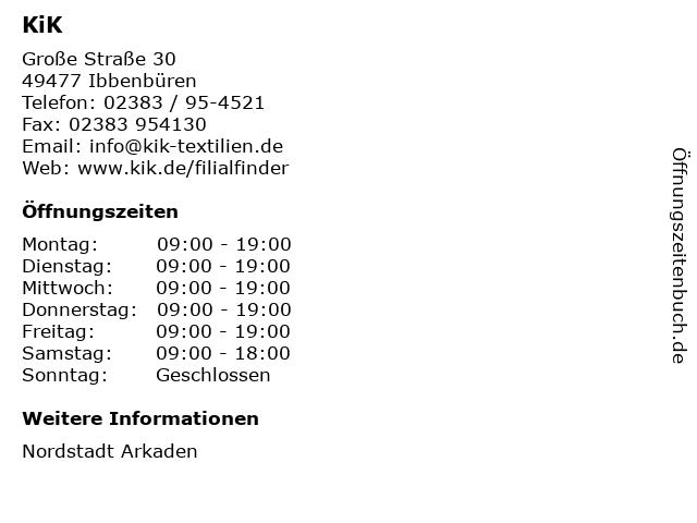 KiK Textilien und Non-Food GmbH in Ibbenbüren: Adresse und Öffnungszeiten