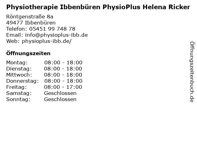 Physiotherapie Ibbenbüren PhysioPlus Helena Ricker in Ibbenbüren: Adresse und Öffnungszeiten