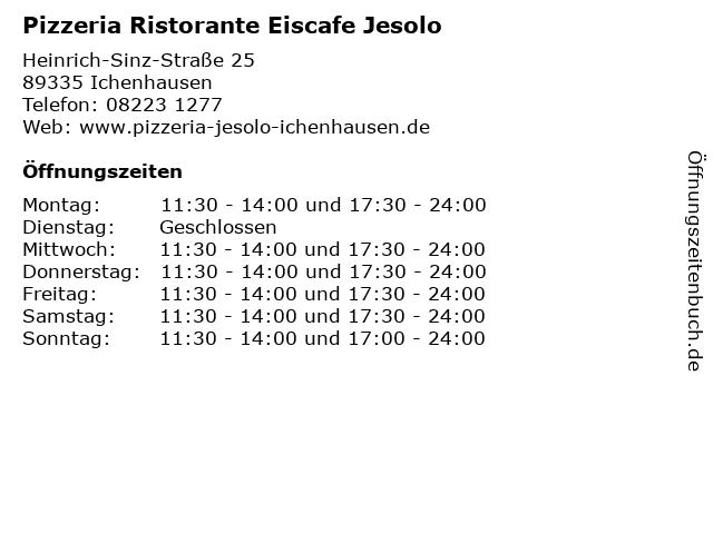 Pizzeria Ristorante Eiscafe Jesolo in Ichenhausen: Adresse und Öffnungszeiten