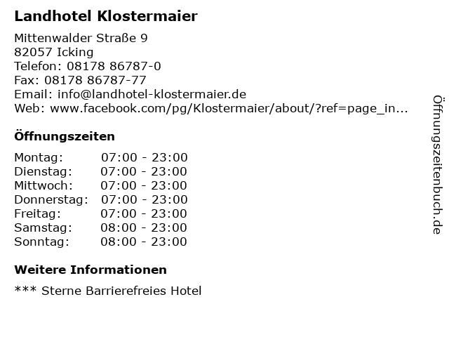 Landhotel Klostermaier in Icking: Adresse und Öffnungszeiten