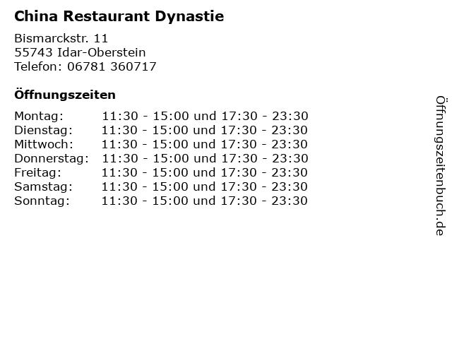 China Restaurant Dynastie in Idar-Oberstein: Adresse und Öffnungszeiten