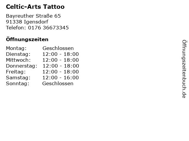 Celtic-Arts Tattoo in Igensdorf: Adresse und Öffnungszeiten
