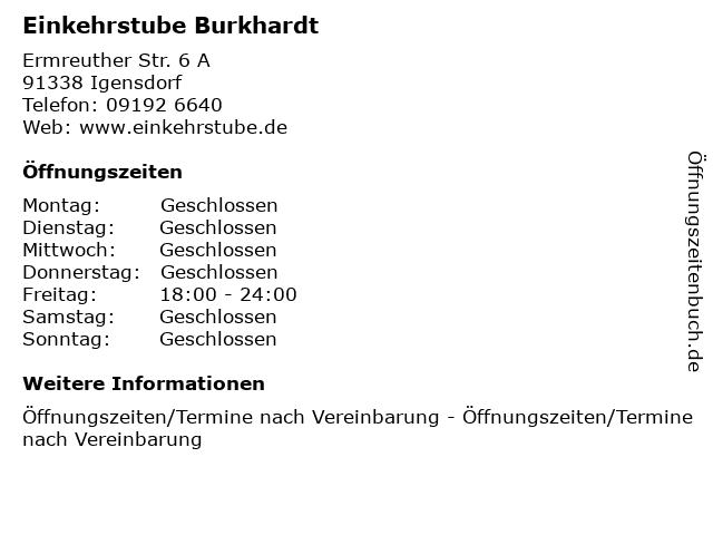 Einkehrstube Burkhardt in Igensdorf: Adresse und Öffnungszeiten
