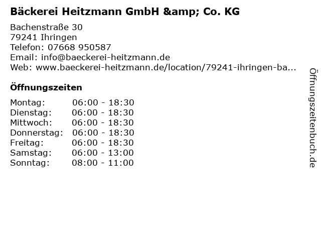 Bäckerei Heitzmann GmbH & Co. KG in Ihringen: Adresse und Öffnungszeiten