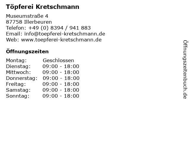 Töpferei Kretschmann in Illerbeuren: Adresse und Öffnungszeiten