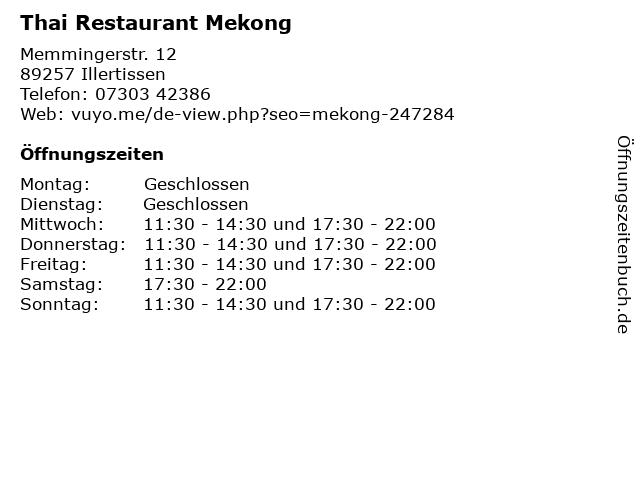 Thai Restaurant Mekong in Illertissen: Adresse und Öffnungszeiten