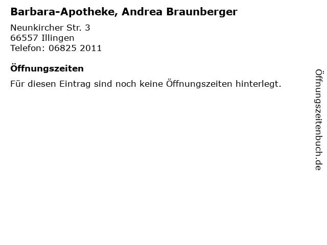 Barbara-Apotheke, Andrea Braunberger in Illingen: Adresse und Öffnungszeiten