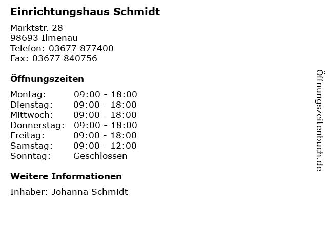 ᐅ öffnungszeiten Einrichtungshaus Schmidt Marktstr 28 In Ilmenau