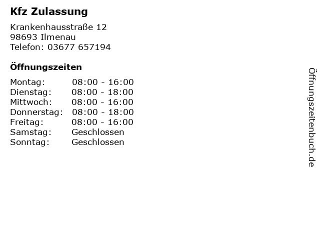 Kfz Zulassung in Ilmenau: Adresse und Öffnungszeiten