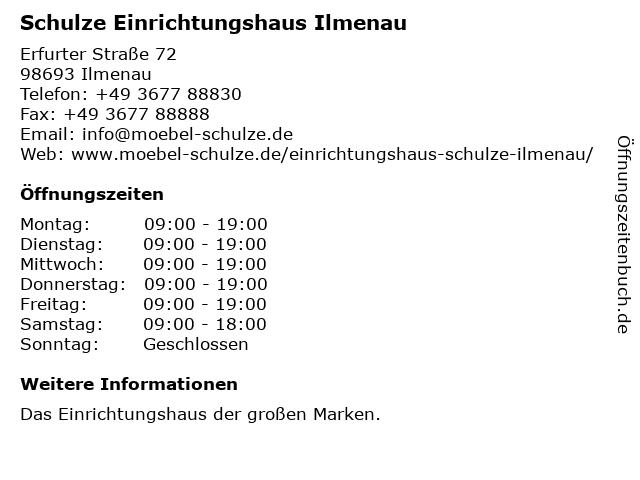 ᐅ öffnungszeiten Einrichtungshaus Schulze Erfurter Straße 72 In
