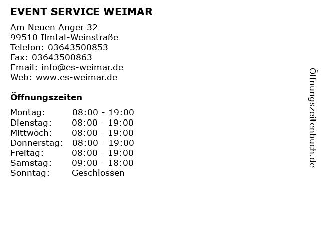 EVENT SERVICE WEIMAR in Ilmtal-Weinstraße: Adresse und Öffnungszeiten