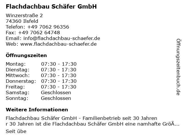 Flachdachbau Schäfer GmbH in Ilsfeld: Adresse und Öffnungszeiten