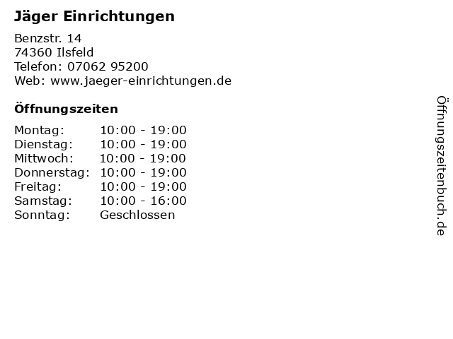 ᐅ Offnungszeiten Jager Einrichtungen Benzstr 14 In Ilsfeld
