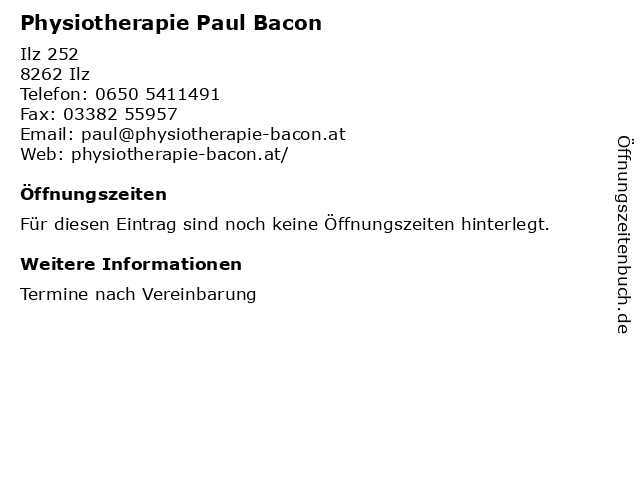 Physiotherapie Paul Bacon in Ilz: Adresse und Öffnungszeiten