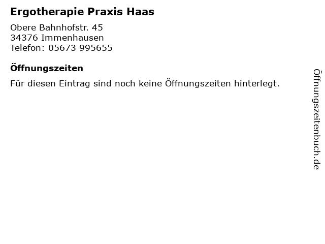 Ergotherapie Praxis Haas in Immenhausen: Adresse und Öffnungszeiten