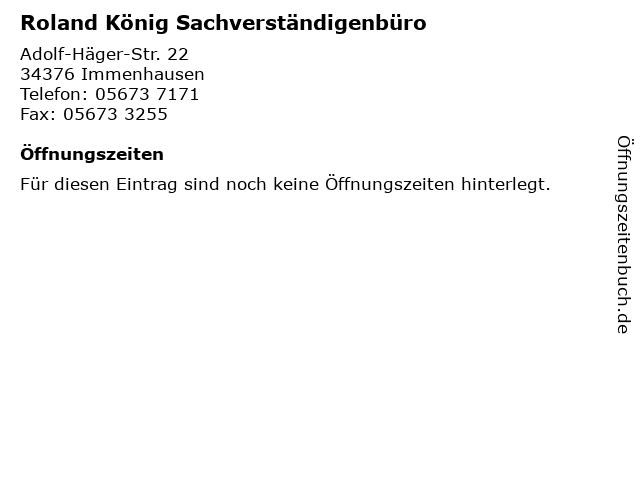 Roland König Sachverständigenbüro in Immenhausen: Adresse und Öffnungszeiten