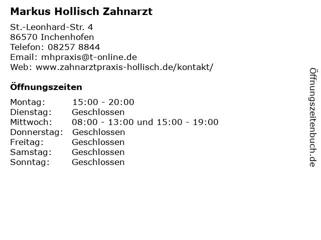 Markus Hollisch Zahnarzt in Inchenhofen: Adresse und Öffnungszeiten