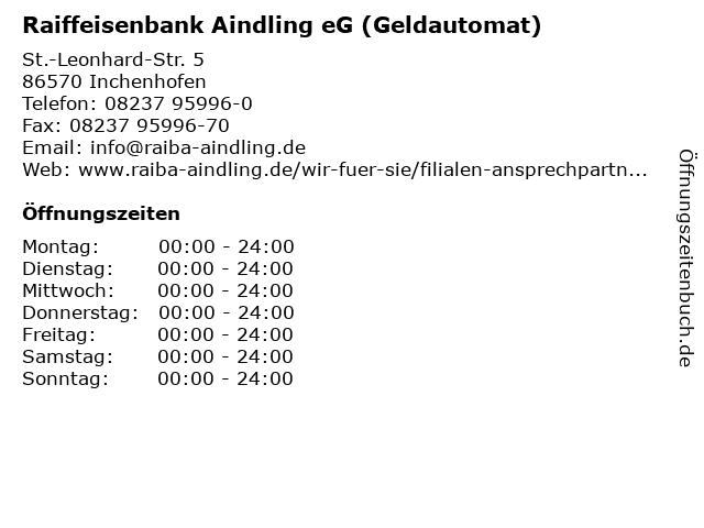 Raiffeisenbank Aindling eG (Geldautomat) in Inchenhofen: Adresse und Öffnungszeiten